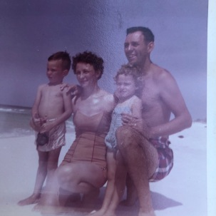 mom & dad with emile & me at beach